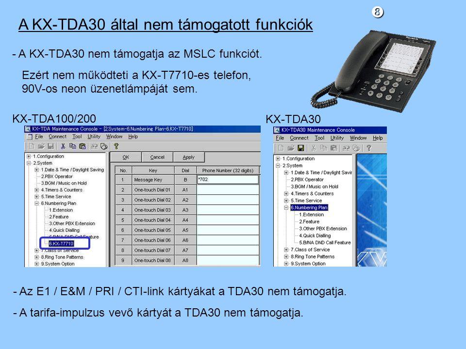 A KX-TDA30 által nem támogatott funkciók - A KX-TDA30 nem támogatja az MSLC funkciót.