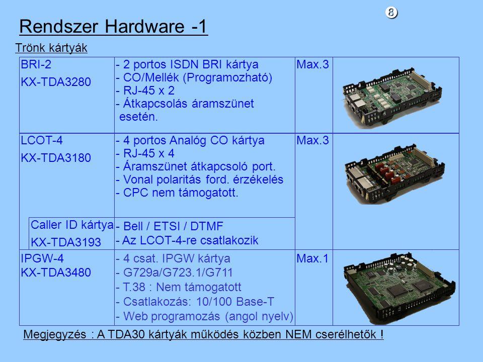 Rendszer Hardware -1 BRI-2 KX-TDA3280 Trönk kártyák - 2 portos ISDN BRI kártya - CO/Mellék (Programozható) - RJ-45 x 2 - Átkapcsolás áramszünet esetén.