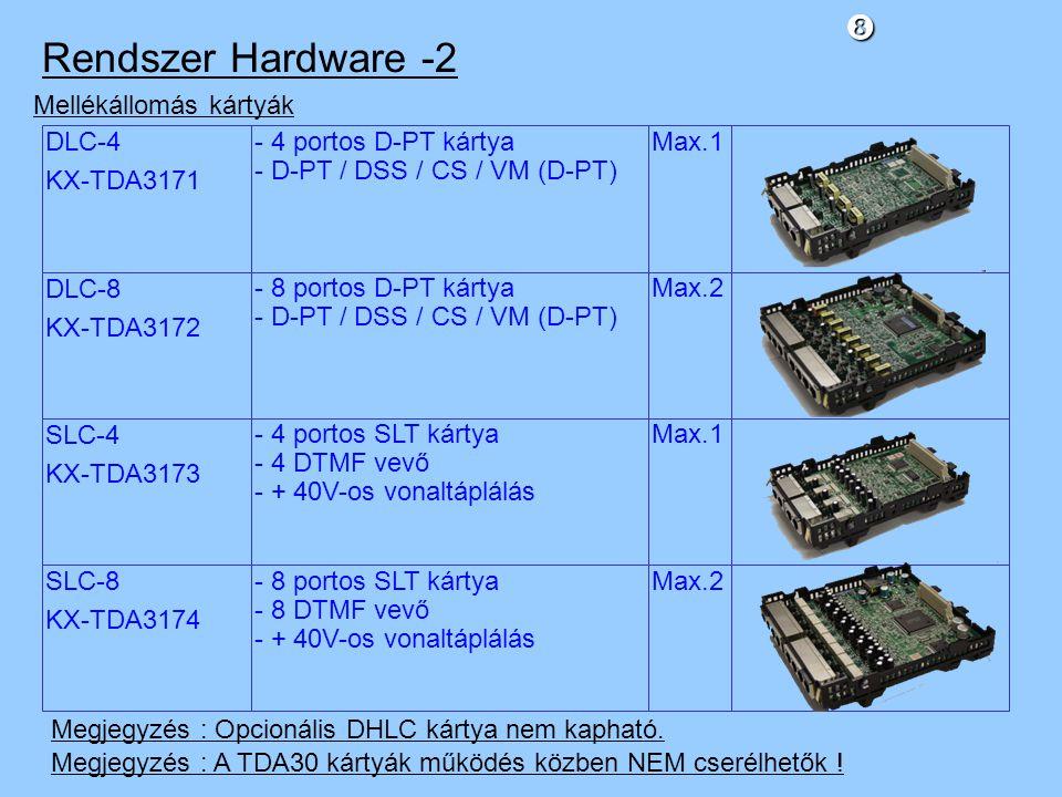 DLC-4 KX-TDA3171 Mellékállomás kártyák - 4 portos D-PT kártya - D-PT / DSS / CS / VM (D-PT) Max.1 DLC-8 KX-TDA3172 - 8 portos D-PT kártya - D-PT / DSS / CS / VM (D-PT) Max.2 SLC-4 KX-TDA3173 - 4 portos SLT kártya - 4 DTMF vevő - + 40V-os vonaltáplálás Max.1 SLC-8 KX-TDA3174 - 8 portos SLT kártya - 8 DTMF vevő - + 40V-os vonaltáplálás Max.2 Megjegyzés : Opcionális DHLC kártya nem kapható.