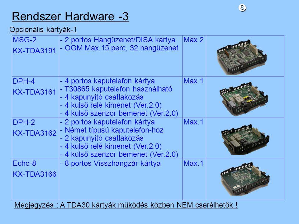 MSG-2 KX-TDA3191 Opcionális kártyák-1 - 2 portos Hangüzenet/DISA kártya - OGM Max.15 perc, 32 hangüzenet Max.2 DPH-4 KX-TDA3161 - 4 portos kaputelefon kártya - T30865 kaputelefon használható - 4 kapunyitó csatlakozás - 4 külső relé kimenet (Ver.2.0) - 4 külső szenzor bemenet (Ver.2.0) Max.1 DPH-2 KX-TDA3162 - 2 portos kaputelefon kártya - Német típusú kaputelefon-hoz - 2 kapunyitó csatlakozás - 4 külső relé kimenet (Ver.2.0) - 4 külső szenzor bemenet (Ver.2.0) Max.1 Echo-8 KX-TDA3166 - 8 portos Visszhangzár kártyaMax.1 Rendszer Hardware -3 Megjegyzés : A TDA30 kártyák működés közben NEM cserélhetők !