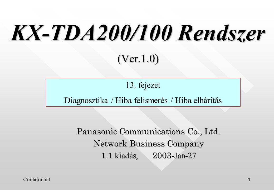 Confidential12 Távriasztás (2/2) SMTP Szerver Internet PC-konzol vagy PC-telefon LAN vagy modem E-mail USB Mellék vonal DPT Ügyfél irodája Telepítő irodája