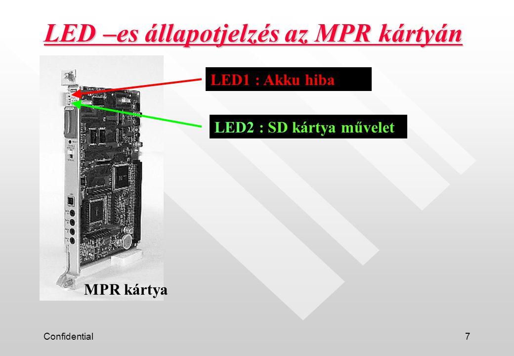Confidential8 LED kijelzés rendszer elinduláskor Példa: 2 Flash 60/perc 60/perc2 mp.