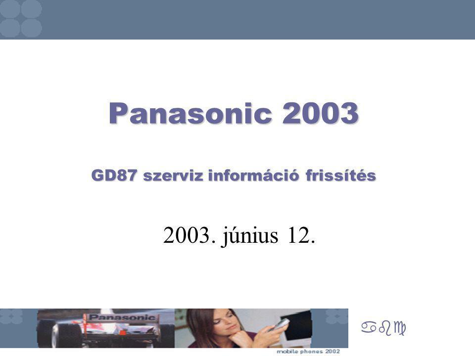 Panasonic 2003 GD87 szerviz információ frissítés abc 2003. június 12.