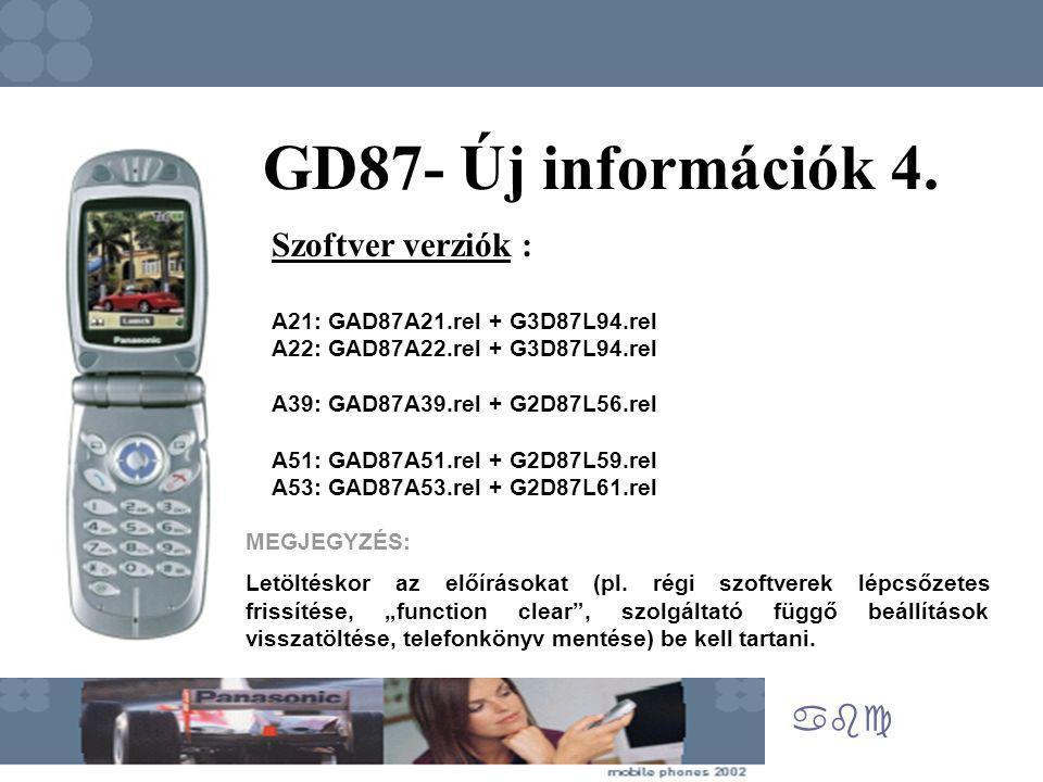 abc GD87- Új információk 4. Szoftver verziók : A21: GAD87A21.rel + G3D87L94.rel A22: GAD87A22.rel + G3D87L94.rel A39: GAD87A39.rel + G2D87L56.rel A51: