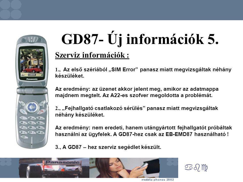 """abc GD87- Új információk 5. Szerviz információk : 1., Az első szériából """"SIM Error"""" panasz miatt megvizsgáltak néhány készüléket. Az eredmény: az üzen"""