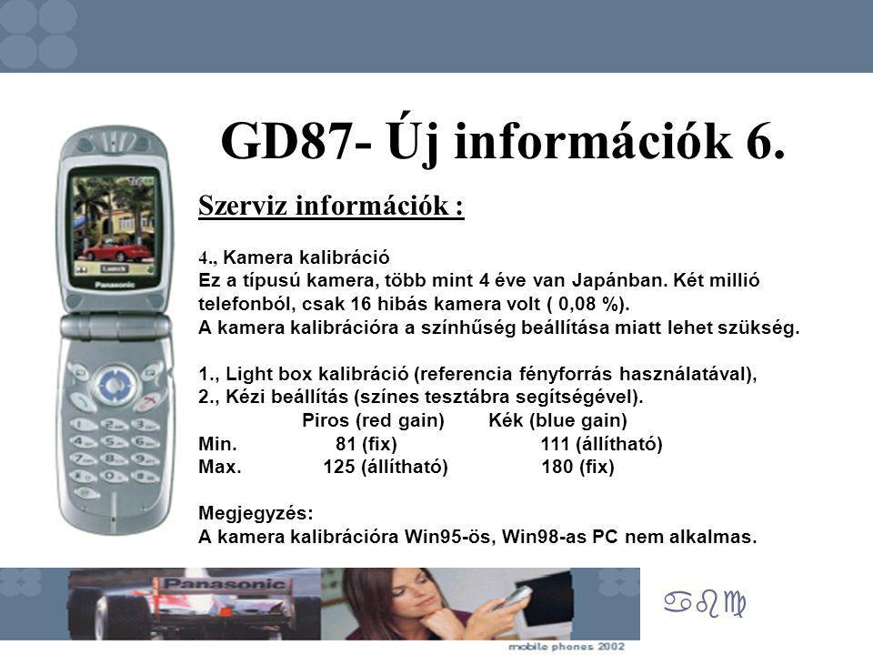 abc GD87- Új információk 6. Szerviz információk : 4., Kamera kalibráció Ez a típusú kamera, több mint 4 éve van Japánban. Két millió telefonból, csak