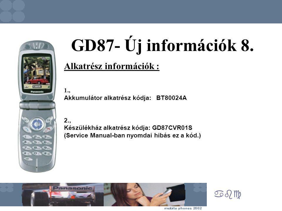 abc GD87- Új információk 8. Alkatrész információk : 1., Akkumulátor alkatrész kódja: BT80024A 2., Készülékház alkatrész kódja: GD87CVR01S (Service Man