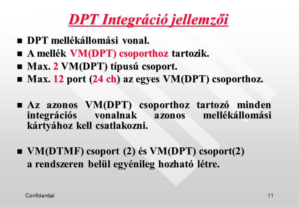 Confidential11 n DPT mellékállomási vonal. n A mellék VM(DPT) csoporthoz tartozik.