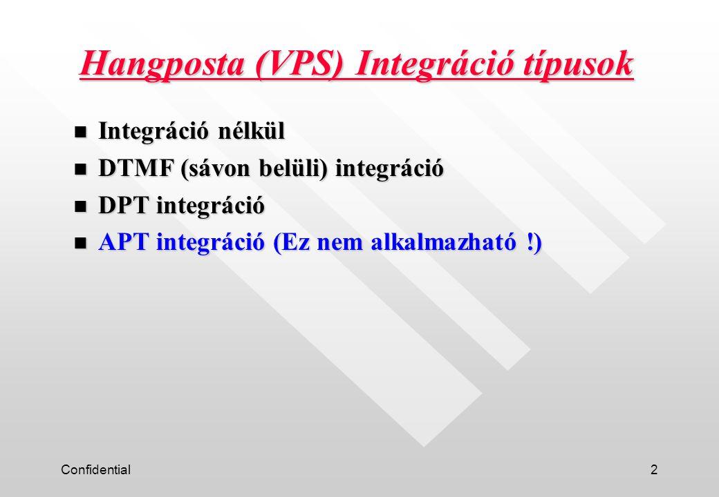 Confidential3 Integráció típusok összehasonlítása Jelzés rendszerHang