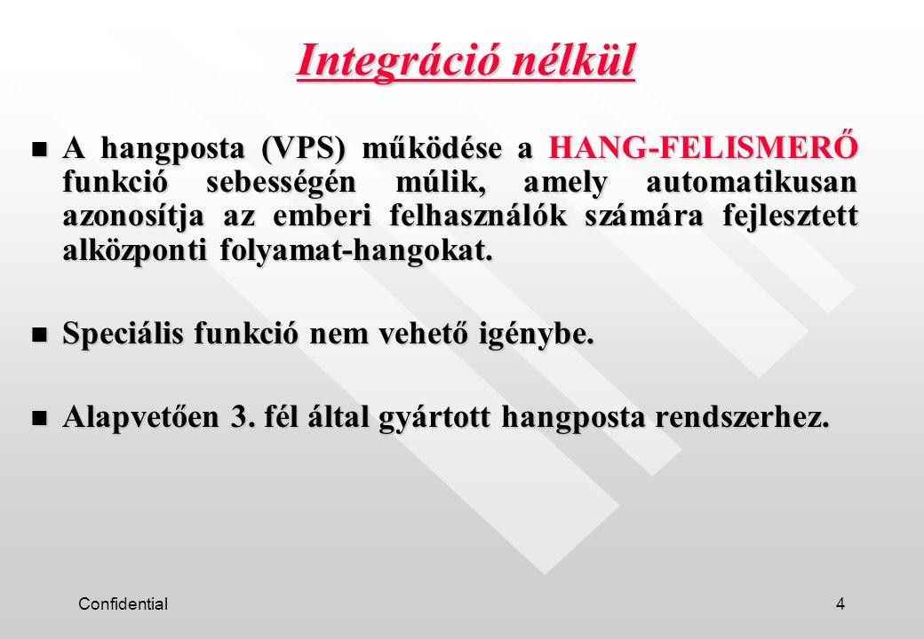 Confidential5 n SLT (analóg) mellékállomási vonal. Integráció nélküli típus csatlakoztatása