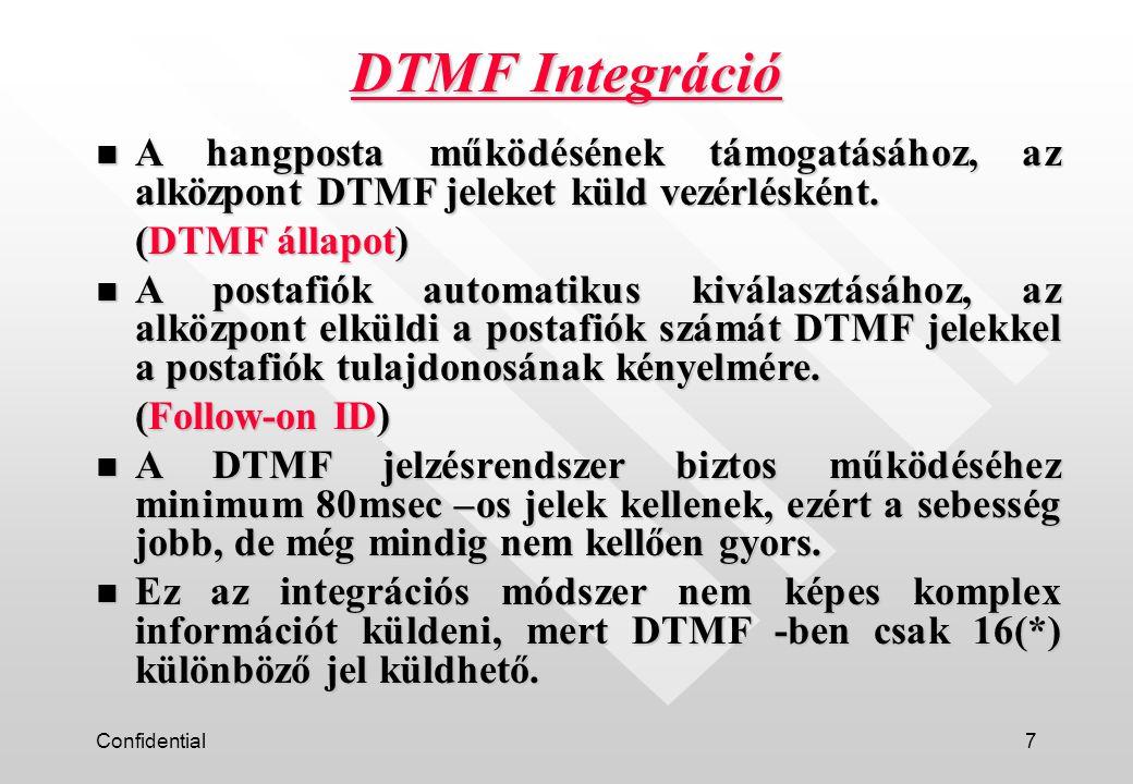 Confidential7 n A hangposta működésének támogatásához, az alközpont DTMF jeleket küld vezérlésként.