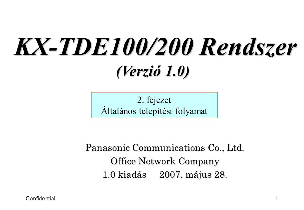 Confidential1 Panasonic Communications Co., Ltd. Office Network Company 1.0 kiadás 2007.