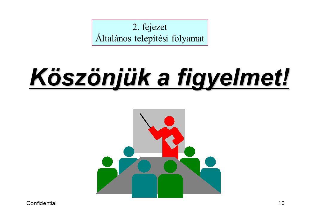 Confidential10 Köszönjük a figyelmet! 2. fejezet Általános telepítési folyamat