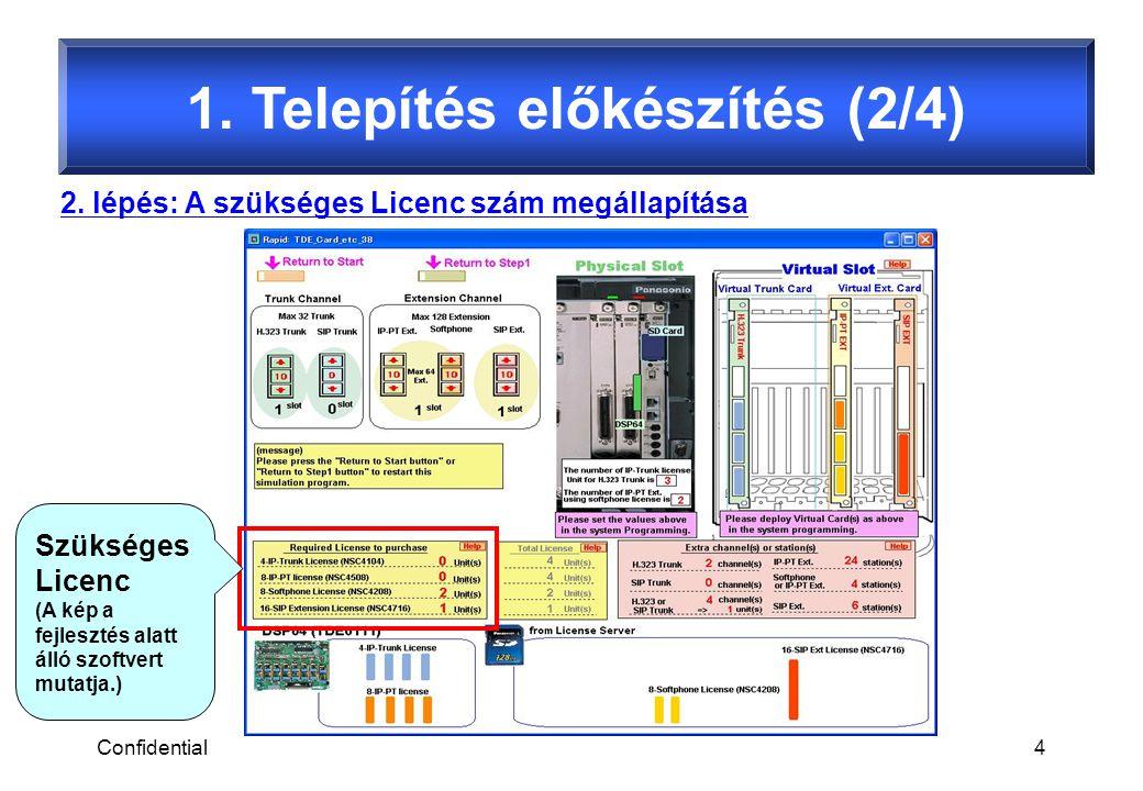Confidential4 1. Telepítés előkészítés (2/4) 2. lépés: A szükséges Licenc szám megállapítása Szükséges Licenc (A kép a fejlesztés alatt álló szoftvert