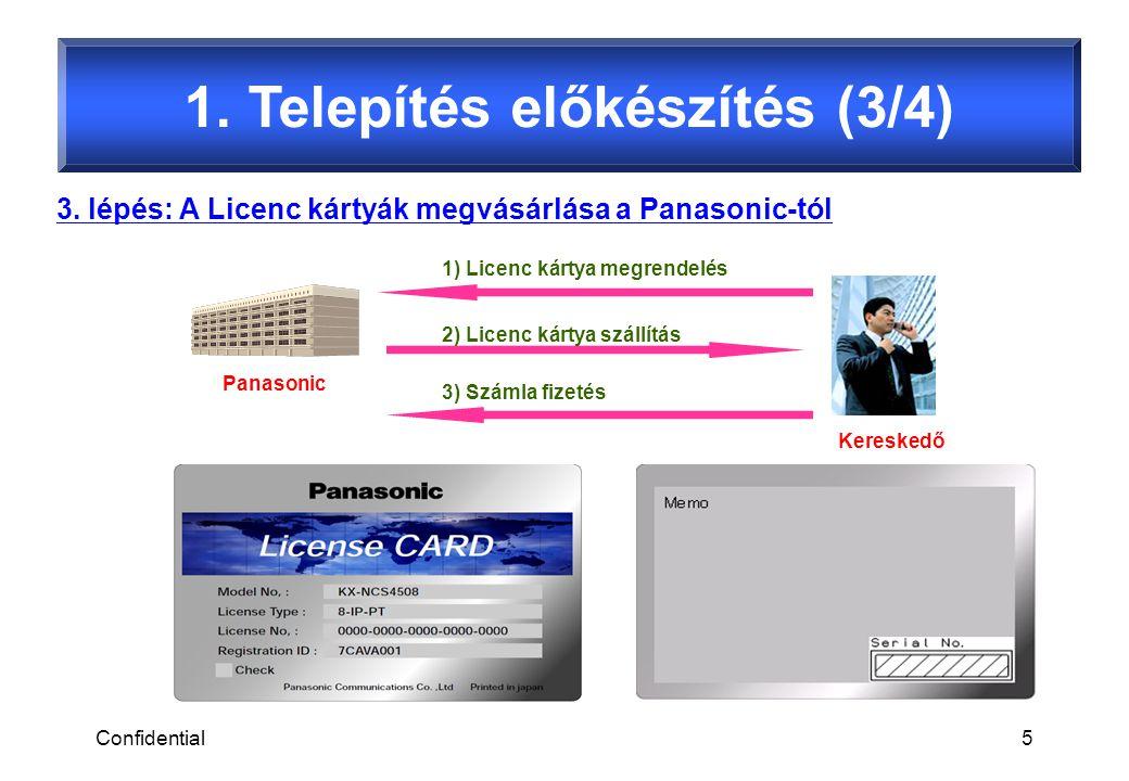 Confidential5 1. Telepítés előkészítés (3/4) 3. lépés: A Licenc kártyák megvásárlása a Panasonic-tól Kereskedő Panasonic 1) Licenc kártya megrendelés