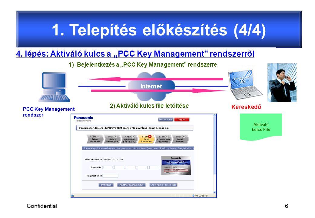 Confidential7 2.Telepítési folyamat (1/2) 1.