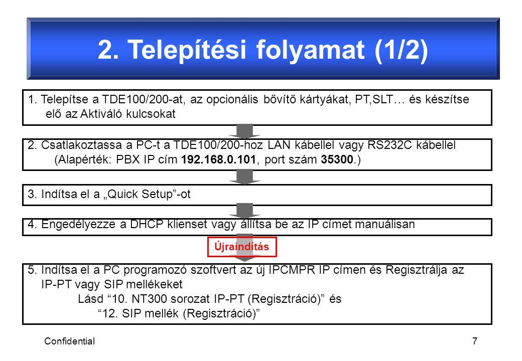 Confidential7 2. Telepítési folyamat (1/2) 1. Telepítse a TDE100/200-at, az opcionális bővítő kártyákat, PT,SLT… és készítse elő az Aktiváló kulcsokat