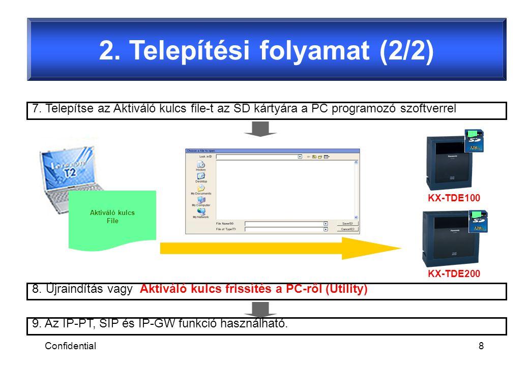 Confidential8 2. Telepítési folyamat (2/2) 7. Telepítse az Aktiváló kulcs file-t az SD kártyára a PC programozó szoftverrel 9. Az IP-PT, SIP és IP-GW