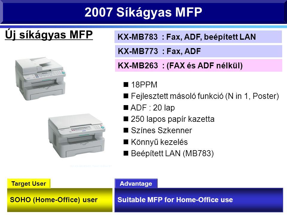 SOHO (Home-Office) user Suitable MFP for Home-Office use Advantage Target User 2007 Síkágyas MFP 18PPM Fejlesztett másoló funkció (N in 1, Poster) ADF : 20 lap 250 lapos papír kazetta Színes Szkenner Könnyű kezelés Beépített LAN (MB783) Új síkágyas MFP KX-MB263 : (FAX és ADF nélkül) KX-MB773 : Fax, ADF KX-MB783 : Fax, ADF, beépített LAN