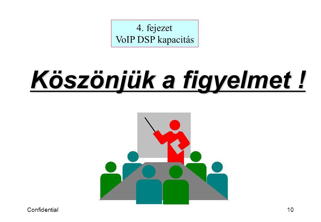 Confidential10 Köszönjük a figyelmet ! 4. fejezet VoIP DSP kapacitás