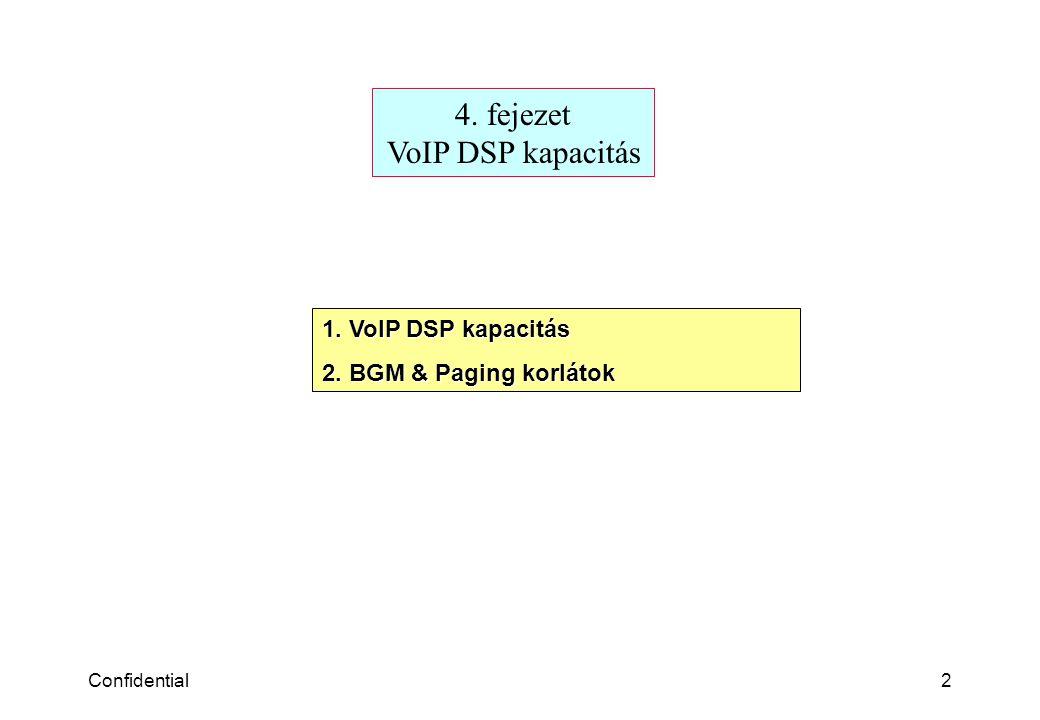 Confidential2 4. fejezet VoIP DSP kapacitás 1. VoIP DSP kapacitás 2. BGM & Paging korlátok