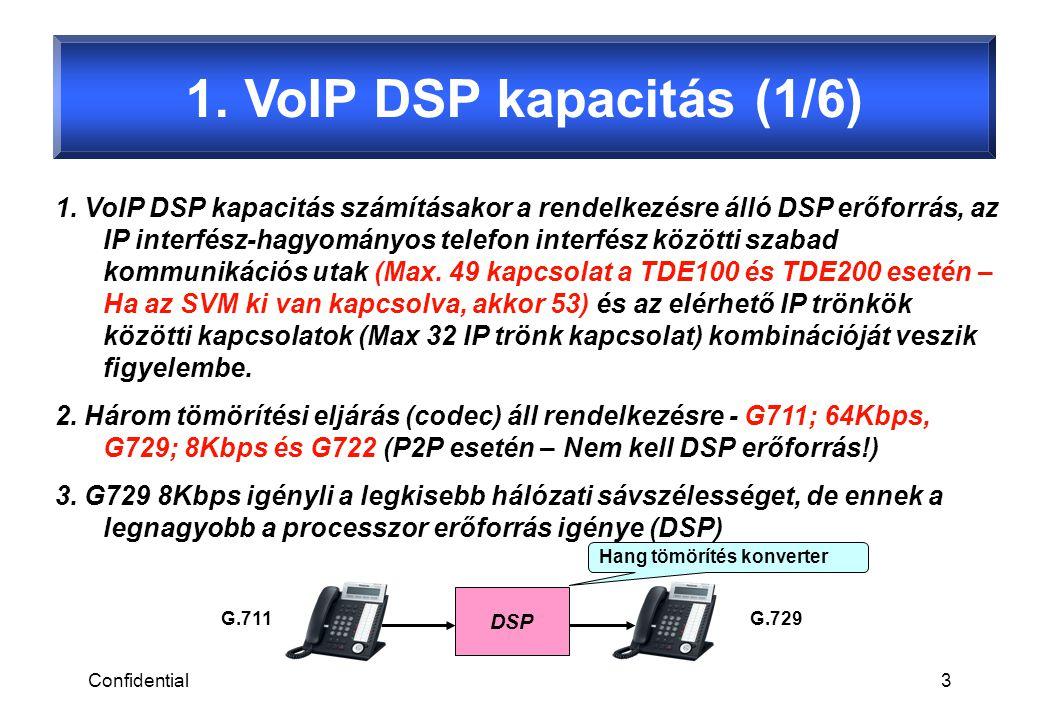 Confidential3 1. VoIP DSP kapacitás (1/6) DSP 1.