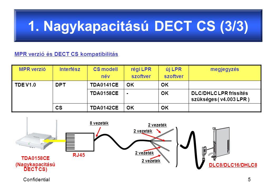 Confidential5 MPR verzióInterfészCS modell név régi LPR szoftver új LPR szoftver megjegyzés TDE V1.0DPTTDA0141CEOK TDA0158CE-OKDLC/DHLC LPR frissítés szükséges ( v4.003 LPR ) CSTDA0142CEOK MPR verzió és DECT CS kompatibilitás RJ45 8 vezeték 2 vezeték DLC8/DLC16/DHLC8 TDA0158CE (Nagykapacitású DECT CS) 1.