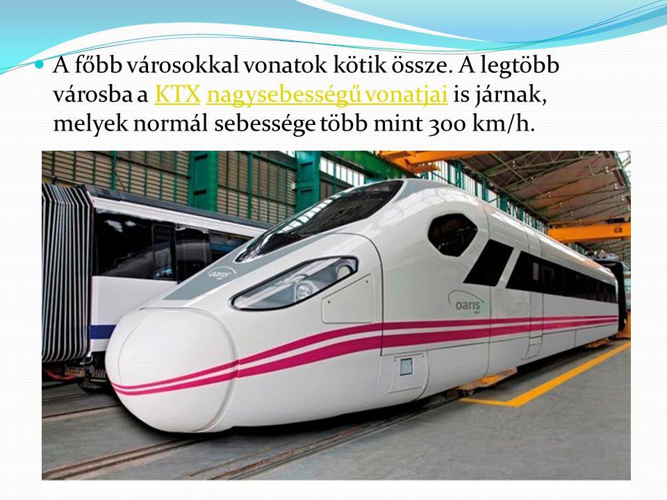 A főbb városokkal vonatok kötik össze. A legtöbb városba a KTX nagysebességű vonatjai is járnak, melyek normál sebessége több mint 300 km/h.KTXnagyseb