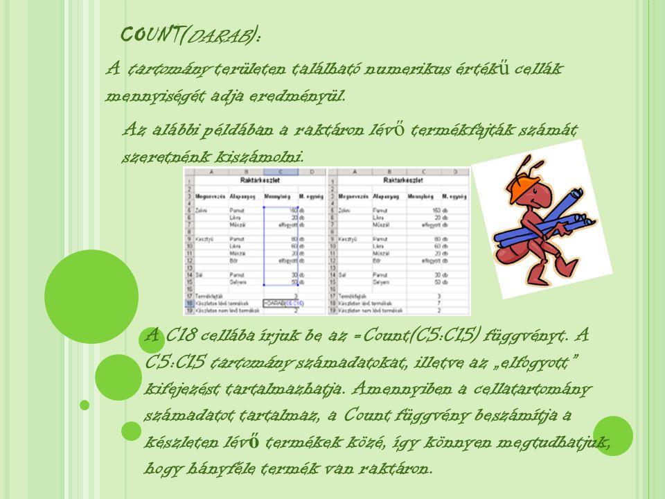 COUNT ( DARAB ): A tartomány területen található numerikus érték ű cellák mennyiségét adja eredményül.
