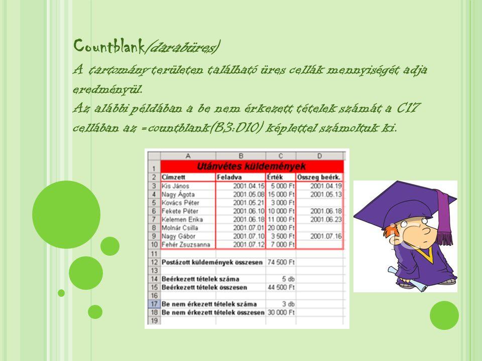 Az alábbi példában a termékfajták számának kiszámításához az =Countblank(A5:A15) függvényt használtuk a C17 cellában.