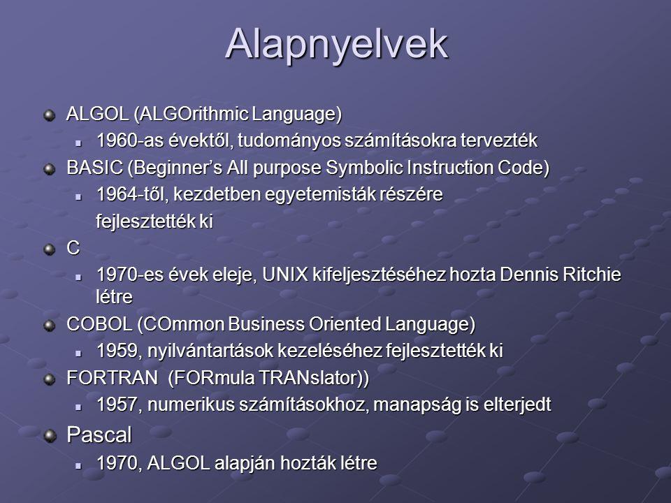 Alapnyelvek ALGOL (ALGOrithmic Language) 1960-as évektől, tudományos számításokra tervezték 1960-as évektől, tudományos számításokra tervezték BASIC (