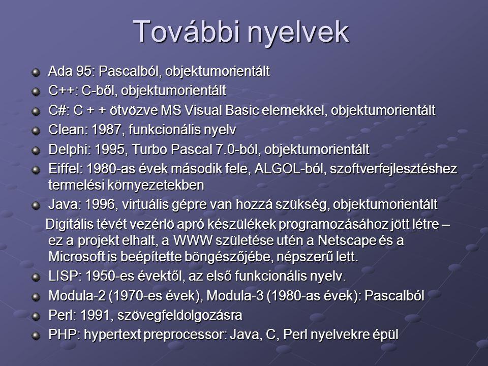 További nyelvek Ada 95: Pascalból, objektumorientált C++: C-ből, objektumorientált C#: C + + ötvözve MS Visual Basic elemekkel, objektumorientált Clea