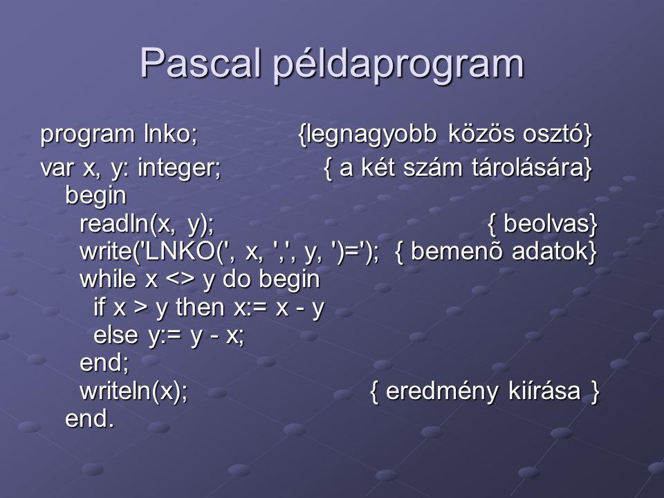 Pascal példaprogram program lnko; {legnagyobb közös osztó} var x, y: integer; { a két szám tárolására} begin readln(x, y); { beolvas} write('LNKO(', x