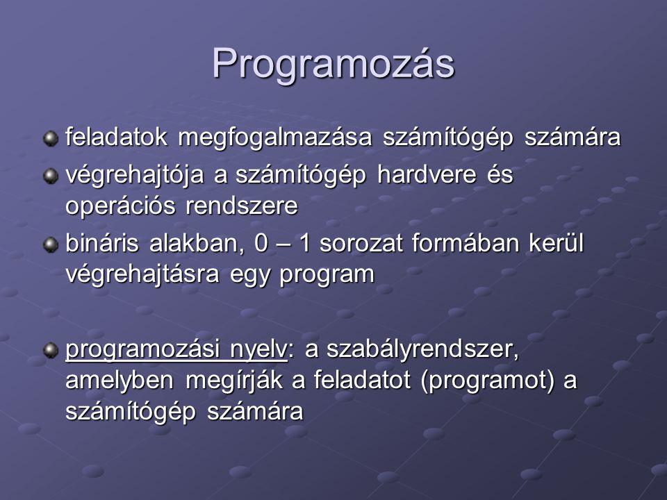 Programozás feladatok megfogalmazása számítógép számára végrehajtója a számítógép hardvere és operációs rendszere bináris alakban, 0 – 1 sorozat formá