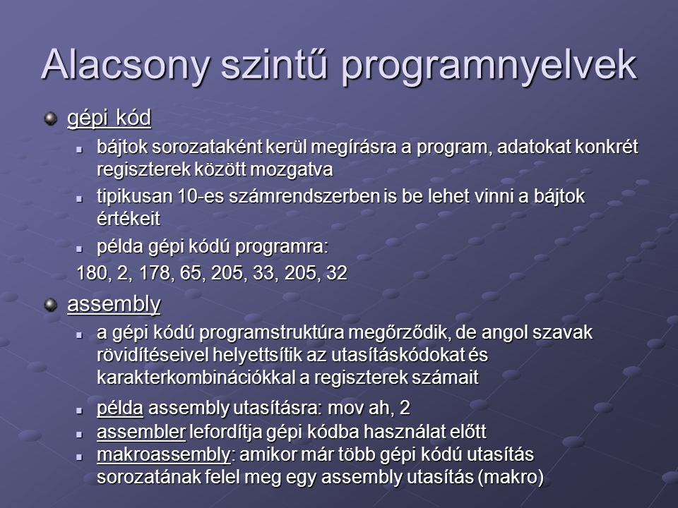 Alacsony szintű programnyelvek gépi kód bájtok sorozataként kerül megírásra a program, adatokat konkrét regiszterek között mozgatva bájtok sorozatakén