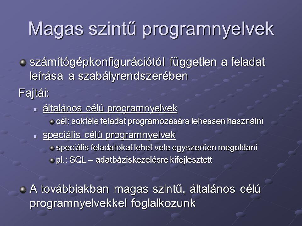 Magas szintű programnyelvek számítógépkonfigurációtól független a feladat leírása a szabályrendszerében Fajtái: általános célú programnyelvek általáno