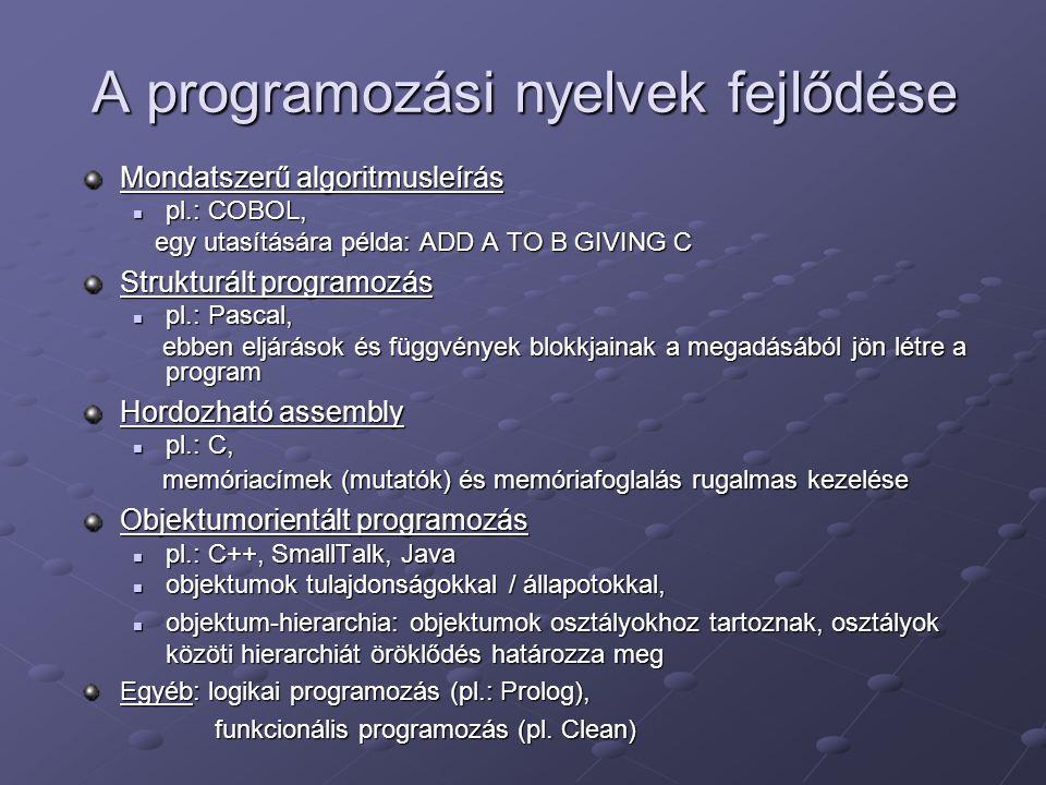 A programozási nyelvek fejlődése Mondatszerű algoritmusleírás pl.: COBOL, pl.: COBOL, egy utasítására példa: ADD A TO B GIVING C egy utasítására példa