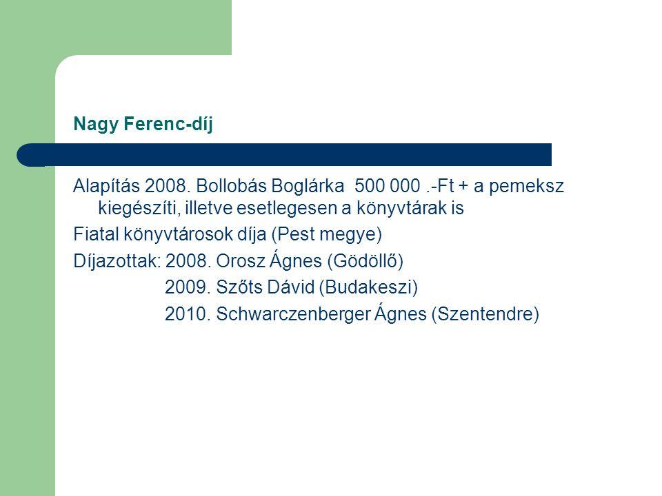 Díjak, Téka-díj A Pest megyei könyvtárügyben legalább 25 éve dolgozó kollégák kapják a Téka-díjat – 2007 – 6 fő – 2008 – 5 fő – 2009 – 3 fő – 2010 – 9 fő Szervezetünk tagjai közül hárman kapták a Magyar Könyvtárosok Egyesületének Emlékérmét: Bazsóné Megyes Klára, Gerber György, Fülöp Attiláné, valamint Solmosi Márta és Szilágyi Márta Biczák Péter Bibliotéka Emlékérmet kapott 2007-ben Nagy Ferenc-díj megalapítása