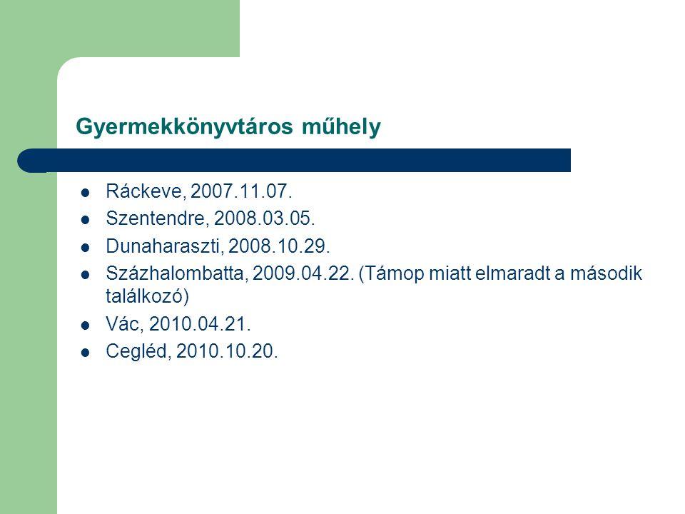 Gyermekkönyvtáros műhely Ráckeve, 2007.11.07.Szentendre, 2008.03.05.