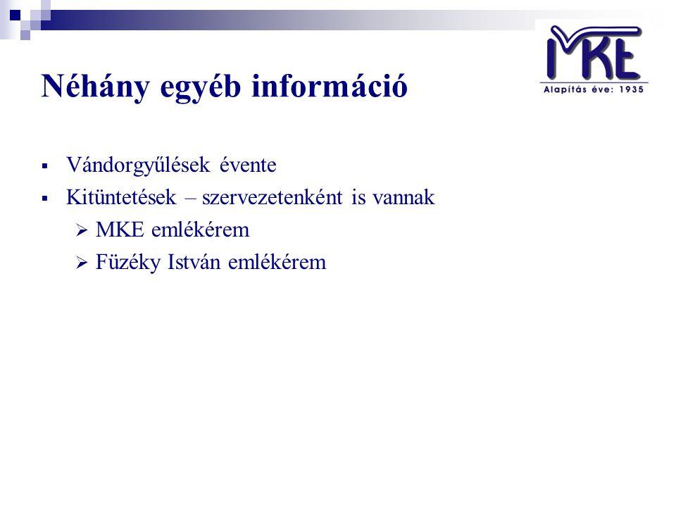Néhány egyéb információ  Vándorgyűlések évente  Kitüntetések – szervezetenként is vannak  MKE emlékérem  Füzéky István emlékérem