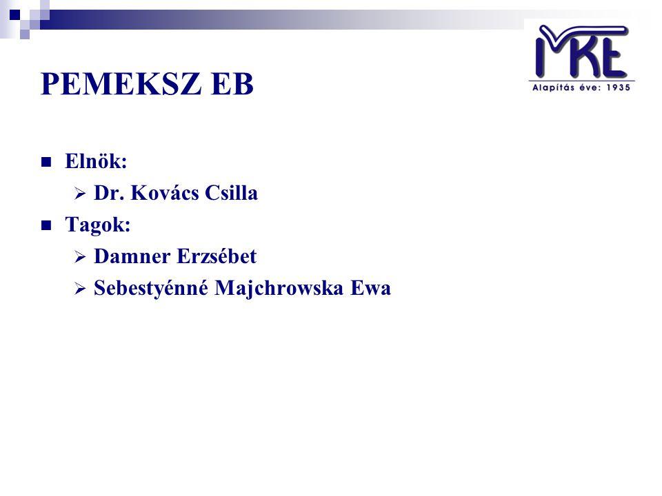 PEMEKSZ EB Elnök:  Dr. Kovács Csilla Tagok:  Damner Erzsébet  Sebestyénné Majchrowska Ewa