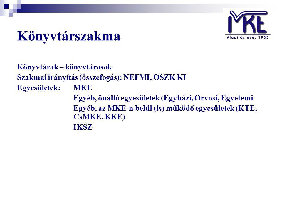 Könyvtárszakma Könyvtárak – könyvtárosok Szakmai irányítás (összefogás): NEFMI, OSZK KI Egyesületek:MKE Egyéb, önálló egyesületek (Egyházi, Orvosi, Egyetemi Egyéb, az MKE-n belül (is) működő egyesületek (KTE, CsMKE, KKE) IKSZ