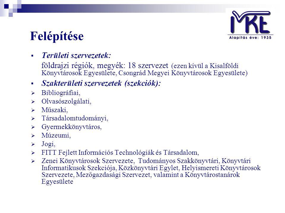 Felépítése  Területi szervezetek: földrajzi régiók, megyék: 18 szervezet (ezen kívül a Kisalföldi Könyvtárosok Egyesülete, Csongrád Megyei Könyvtárosok Egyesülete)  Szakterületi szervezetek (szekciók):  Bibliográfiai,  Olvasószolgálati,  Műszaki,  Társadalomtudományi,  Gyermekkönyvtáros,  Múzeumi,  Jogi,  FITT Fejlett Információs Technológiák és Társadalom,  Zenei Könyvtárosok Szervezete, Tudományos Szakkönyvtári, Könyvtári Informatikusok Szekciója, Közkönyvtári Egylet, Helyismereti Könyvtárosok Szervezete, Mezőgazdasági Szervezet, valamint a Könyvtárostanárok Egyesülete