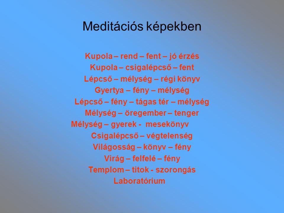 Meditációs képekben Kupola – rend – fent – jó érzés Kupola – csigalépcső – fent Lépcső – mélység – régi könyv Gyertya – fény – mélység Lépcső – fény –
