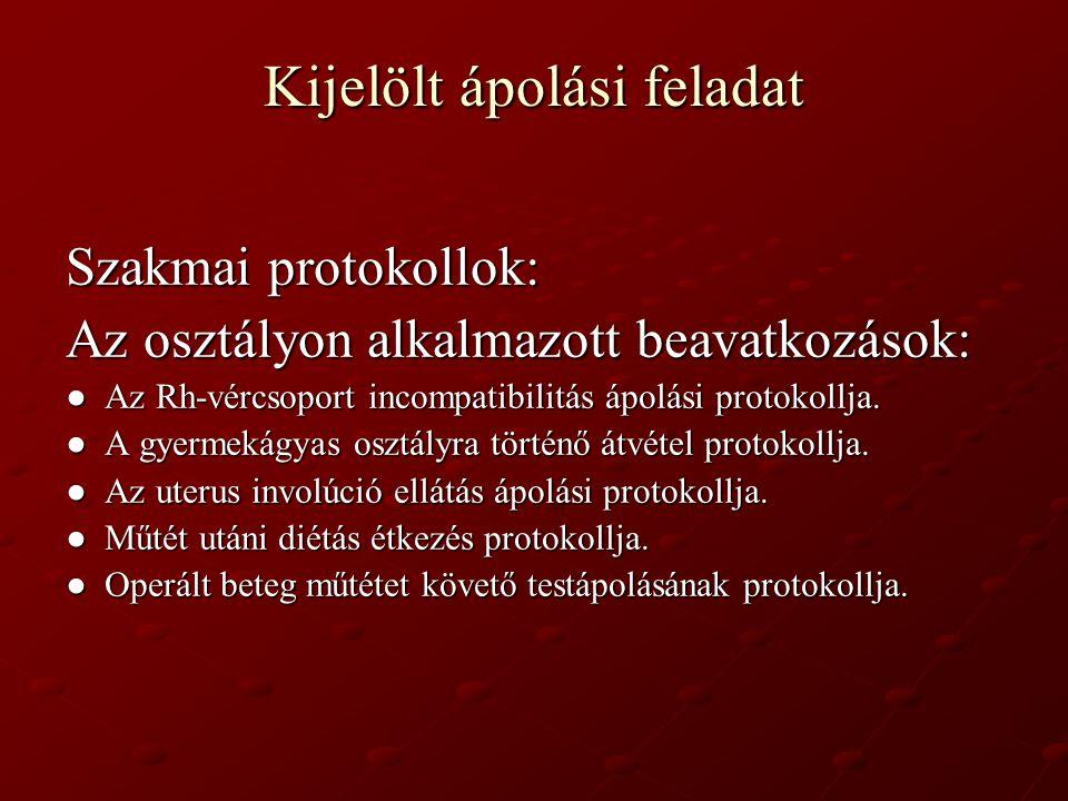 Kijelölt ápolási feladat Szakmai protokollok: Az osztályon alkalmazott beavatkozások: ● Az Rh-vércsoport incompatibilitás ápolási protokollja. ● A gye