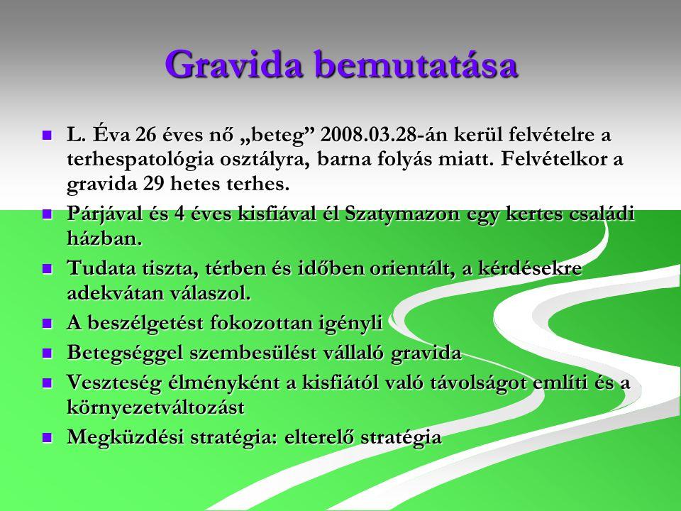 """Gravida bemutatása L. Éva 26 éves nő """"beteg"""" 2008.03.28-án kerül felvételre a terhespatológia osztályra, barna folyás miatt. Felvételkor a gravida 29"""