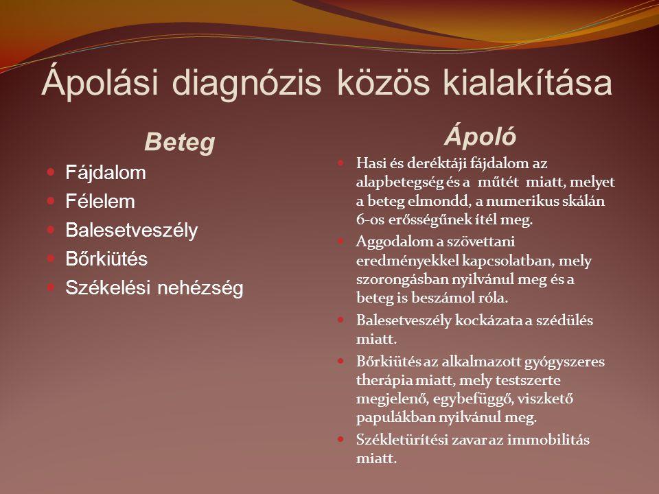 Ápolási diagnózis közös kialakítása Beteg Ápoló Fájdalom Félelem Balesetveszély Bőrkiütés Székelési nehézség Hasi és deréktáji fájdalom az alapbetegsé