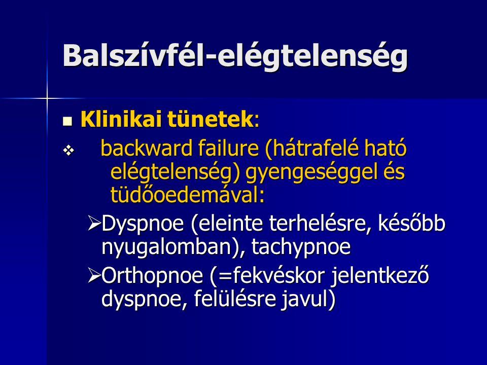 Balszívfél-elégtelenség Klinikai tünetek: Klinikai tünetek:  backward failure (hátrafelé ható elégtelenség) gyengeséggel és tüdőoedemával:  Dyspnoe