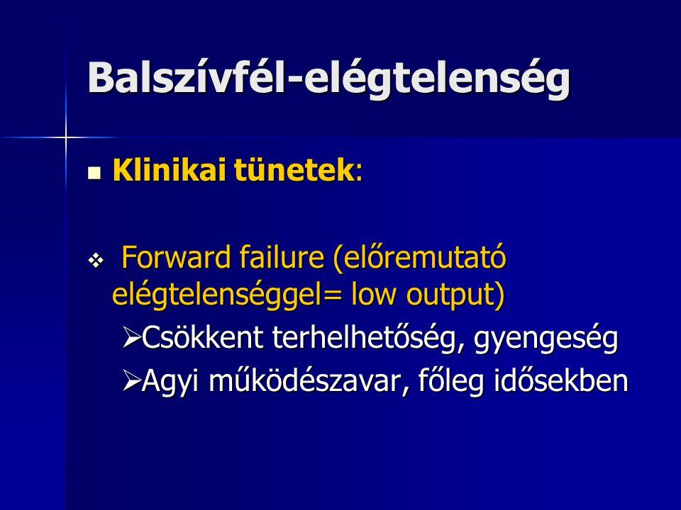 Balszívfél-elégtelenség Klinikai tünetek: Klinikai tünetek:  Forward failure (előremutató elégtelenséggel= low output)  Csökkent terhelhetőség, gyen