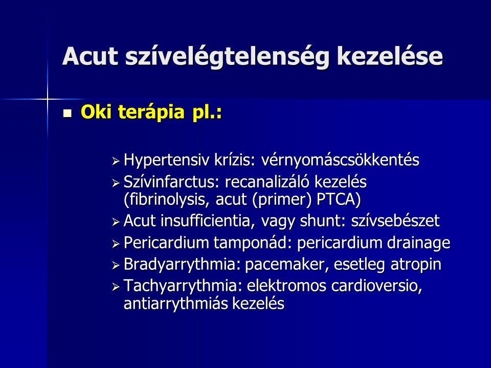 Acut balszívfél elégtelenség tüneti kezelése  Ülő helyzet, szedálás, O 2 kezelés  Előterhelés csökkentés: nitroglycerin+gyors hatású diureticum  Esetleg pozitív hatású béta-receptor agonisták: dopamin, és/vagy dobutamin  Vérnyomás, centrális vénás nyomás, bal kamrai töltőnyomás és a perctérfogat optimális szabályozása